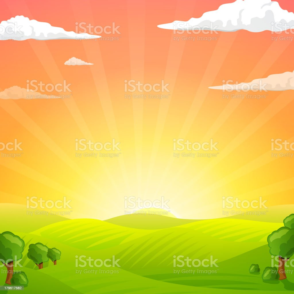 Vector Fields And Sunrise Sky vector art illustration