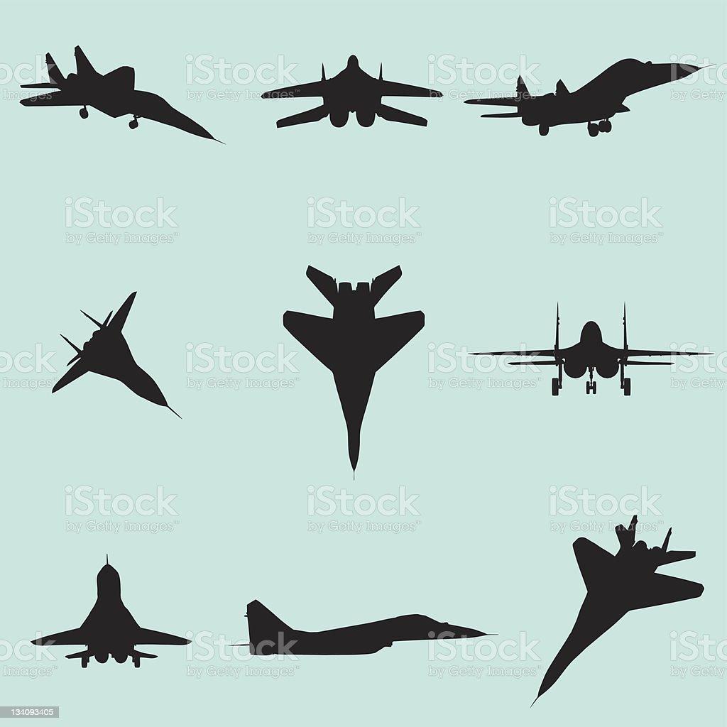 vector fighter jet silhouette set vector art illustration