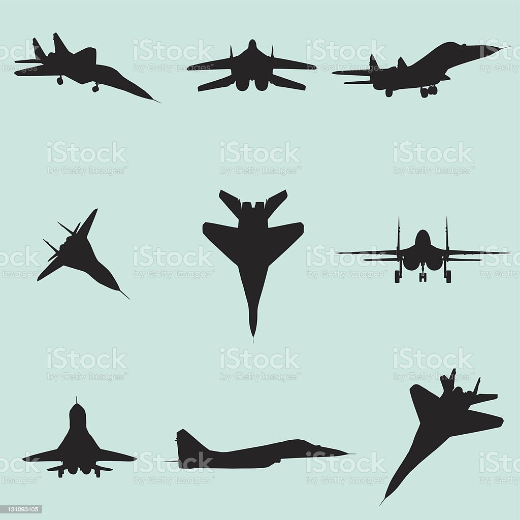 vector fighter jet silhouette set vector art illustration