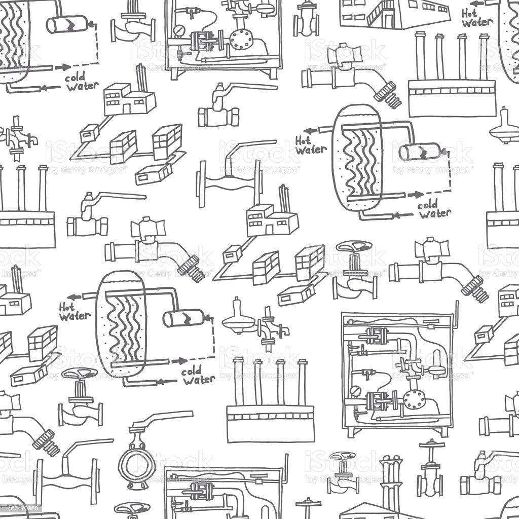 Vector file. Sketch of engineering heat energy networks of engineering equipment pipelines vector art illustration