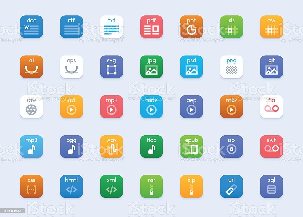 Vector file types icon set vector art illustration