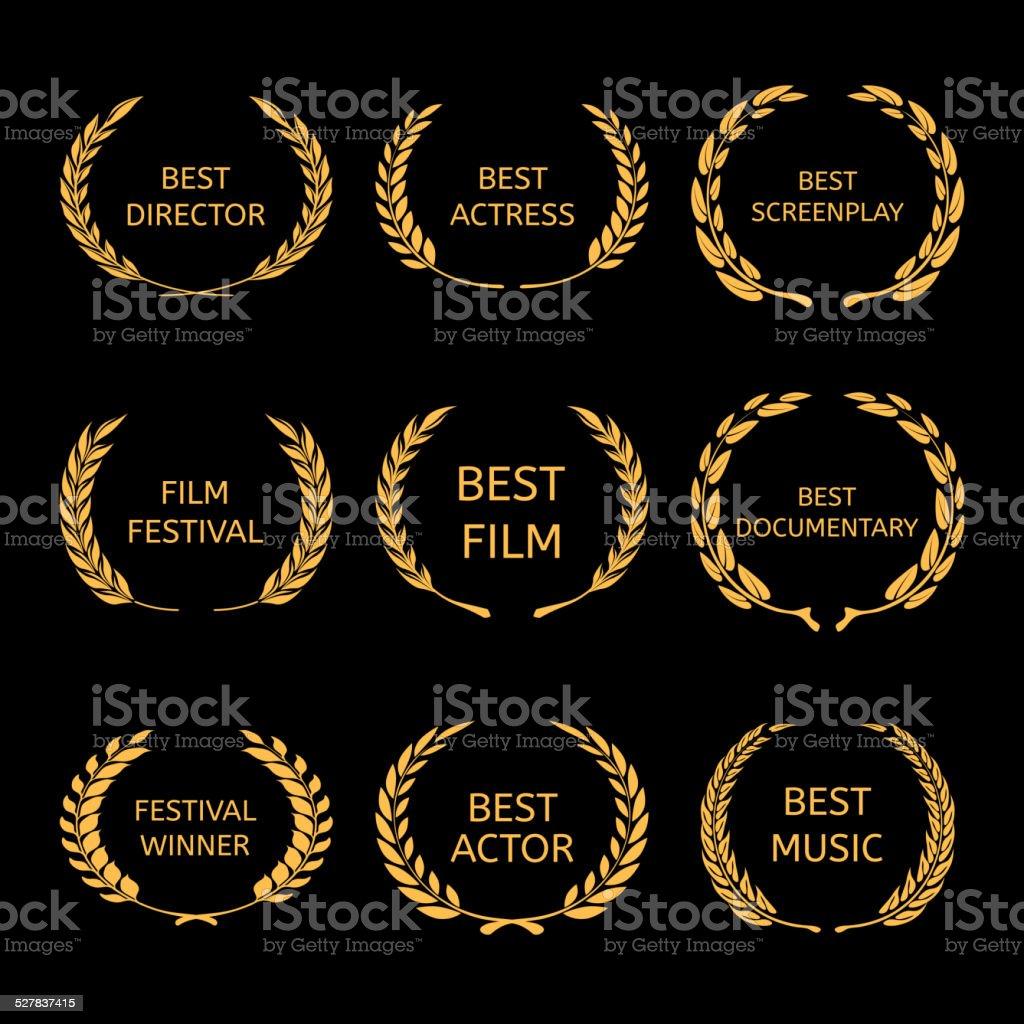 Vector Film Awards, gold award wreaths on black background vector art illustration
