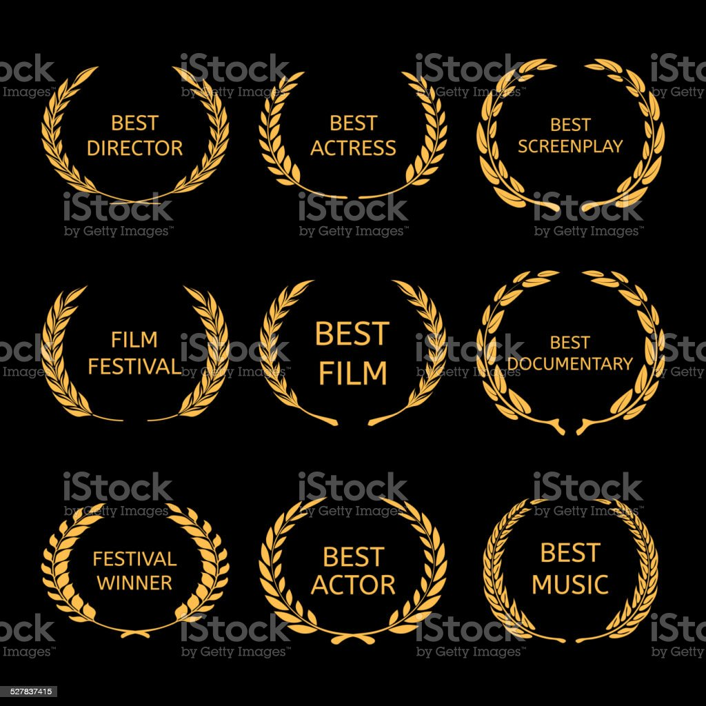 Vector Film Awards, gold award wreaths on black background vector art illustration