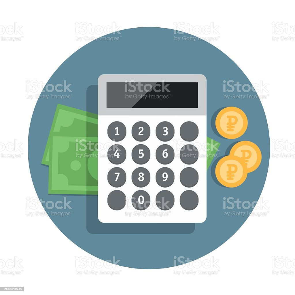 Vector financial icon in flat style with money and calculator vector art illustration