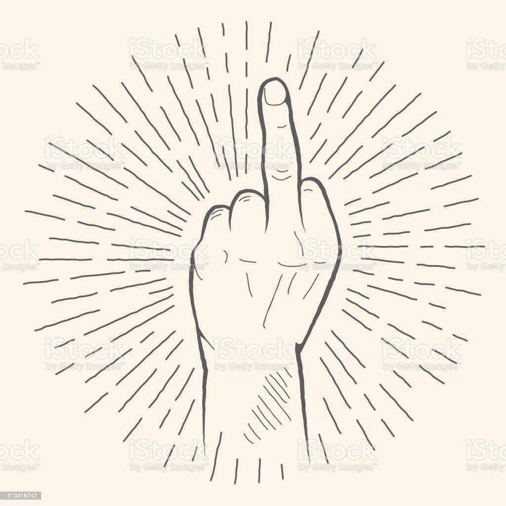 Vector finger gesture. Obscene Fuck off sign hand drawn sketch. vector art illustration