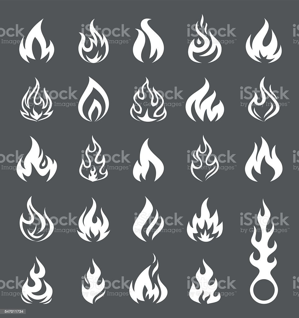 Vector Fire and Flame icon set - Illustration vector art illustration
