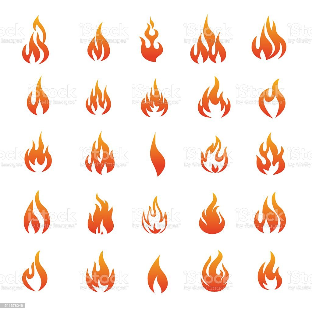 Vector Fire and Flame icons - Illustration vector art illustration
