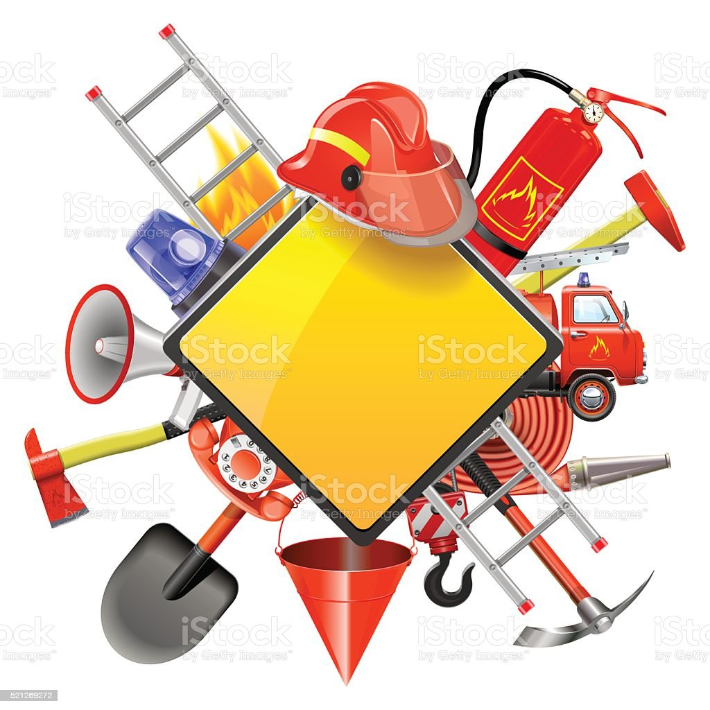 Vector Fire Prevention Signboard vector art illustration
