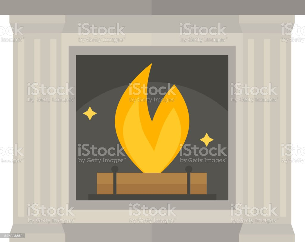 Vector fireplace isolated on white vector art illustration