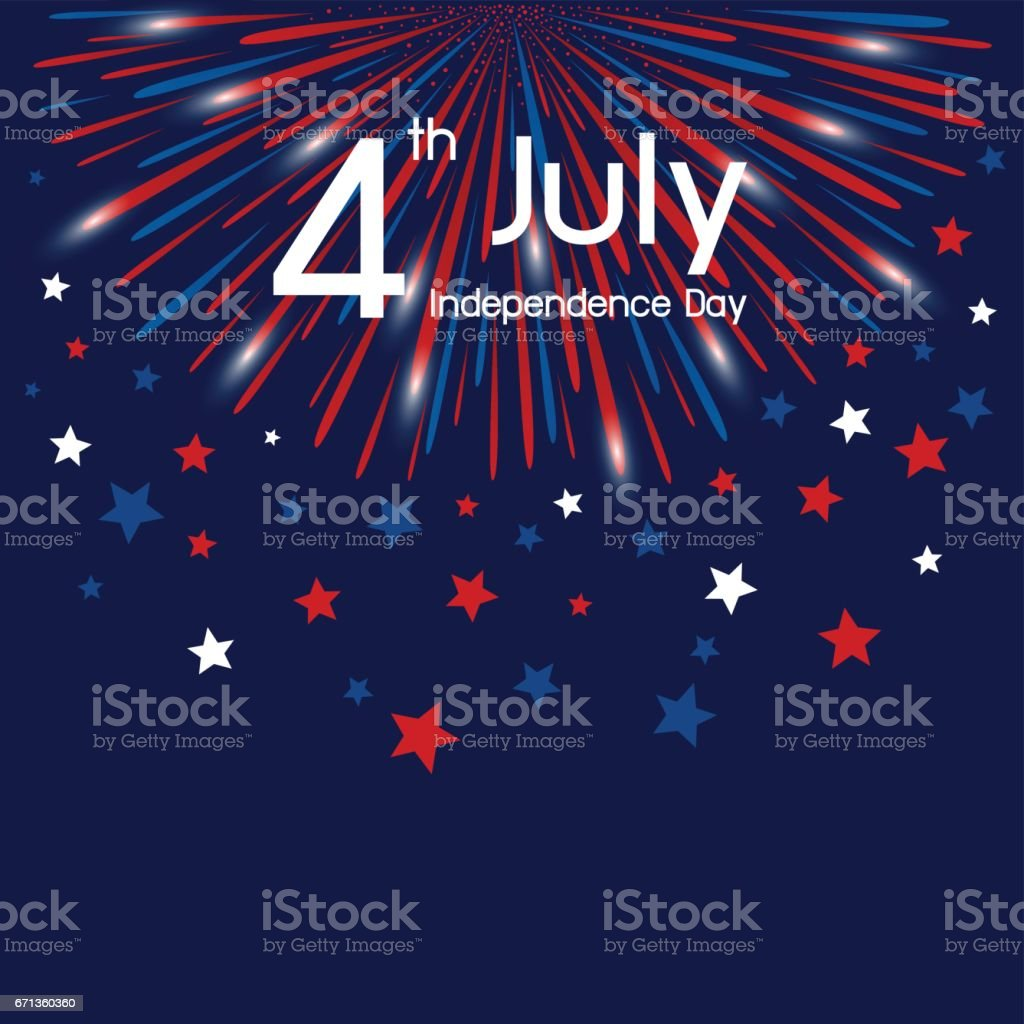 Vector firework 4th of july american independence day vector art illustration