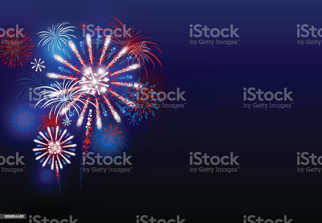 Vector firework design at night with copy space vector art illustration