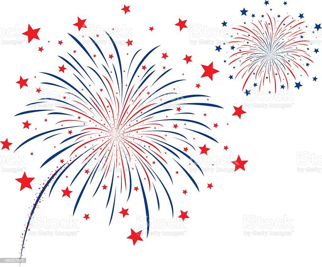Vector firework design on white background vector art illustration