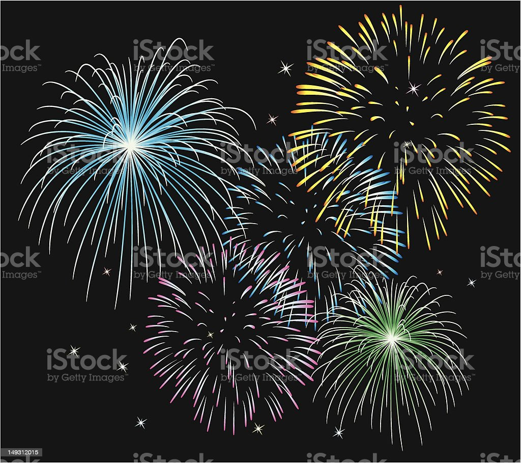 vector fireworks background royalty-free stock vector art