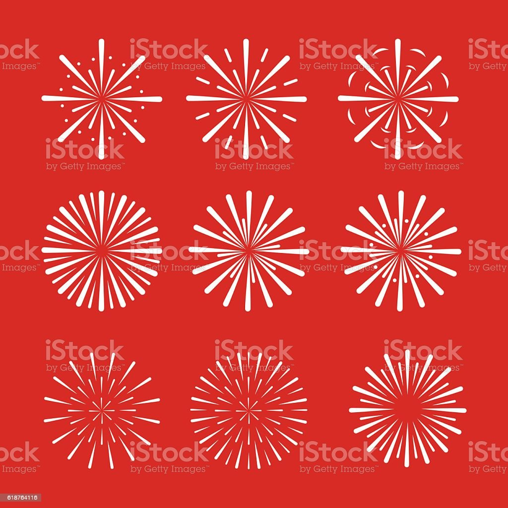 Vector Fireworks Set vector art illustration
