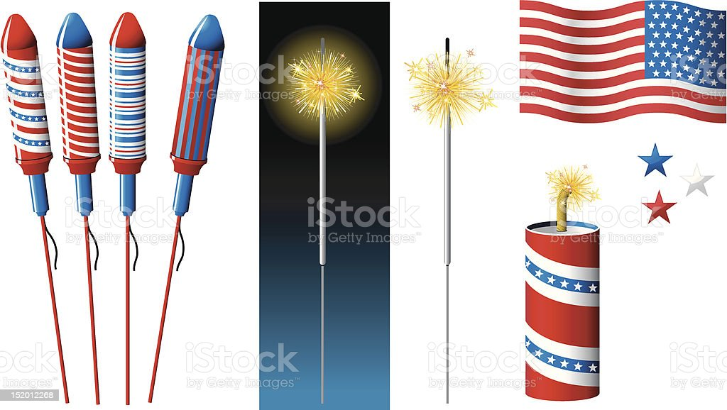 Vector Fireworks, sparkler and American flag royalty-free stock vector art