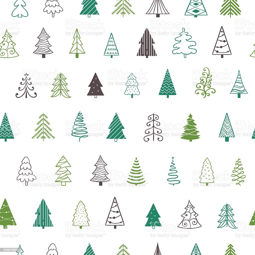 Vector fir-tree seamless pattern. Background with christmas trees. Green xmas vector art illustration