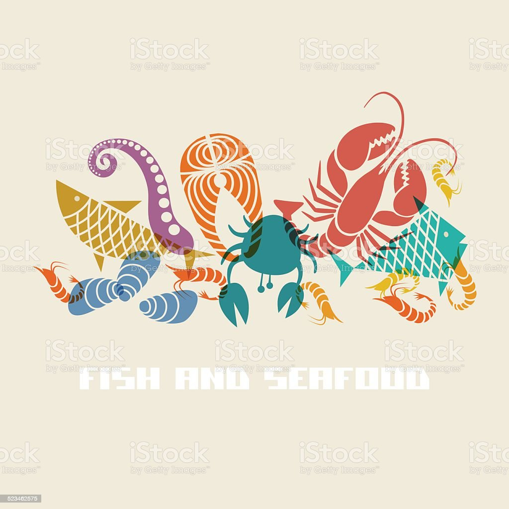 Vector fish and seafood icon vector art illustration