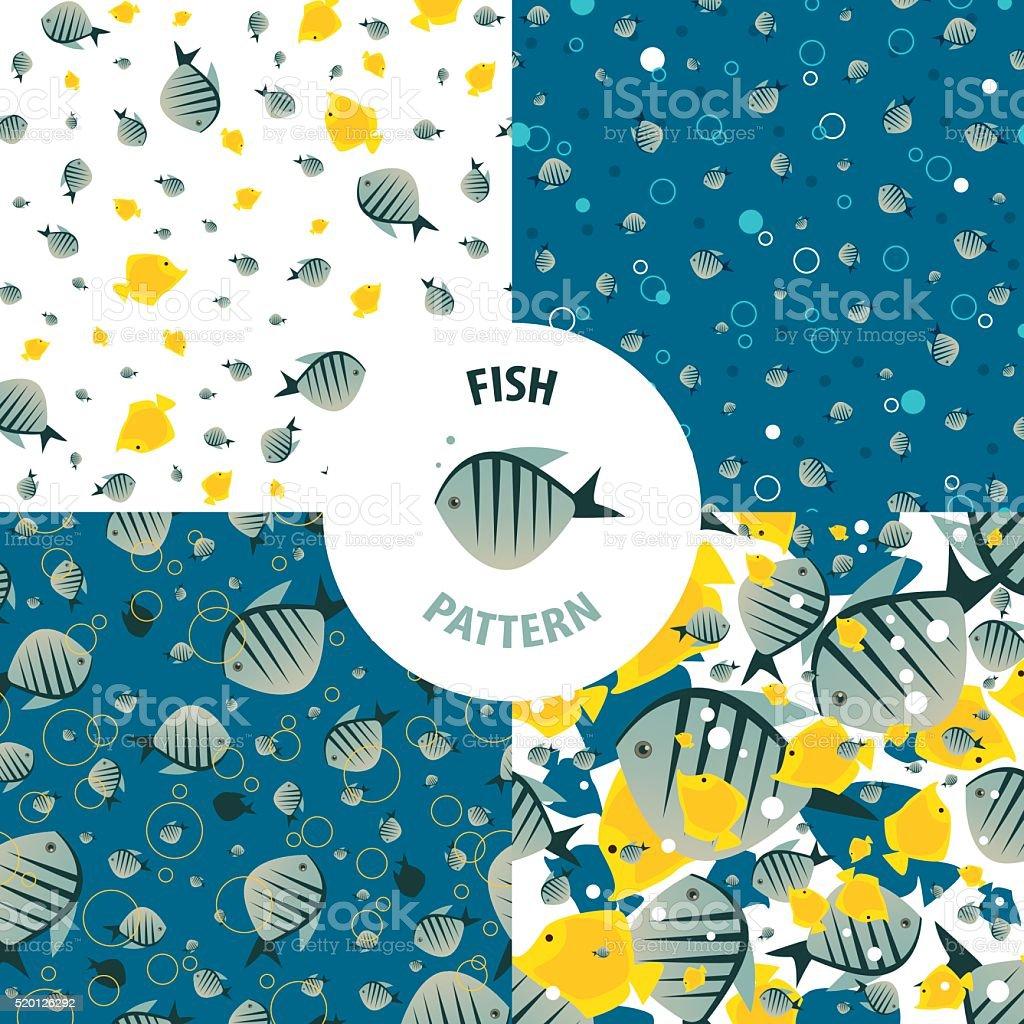 Vector fish pattern set vector art illustration