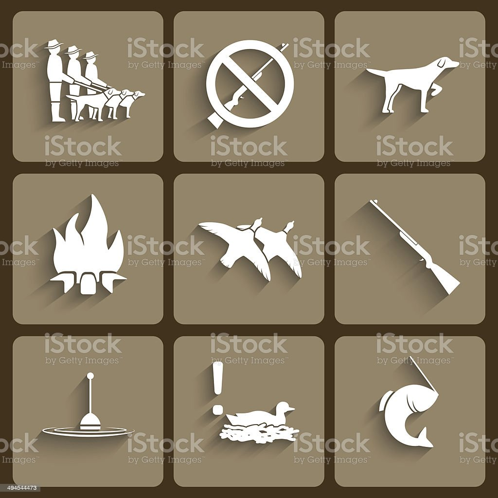 Vector fishing and hunting  icons vector art illustration