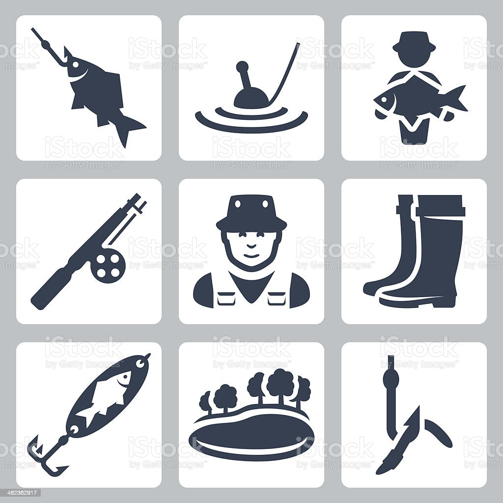 Vector fishing icons set vector art illustration