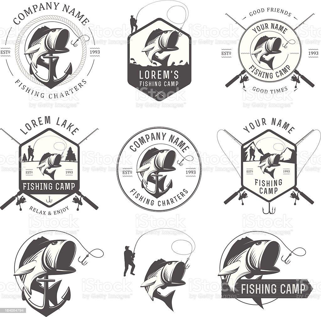 Set of vintage fishing labels, badges and design elements vector art illustration