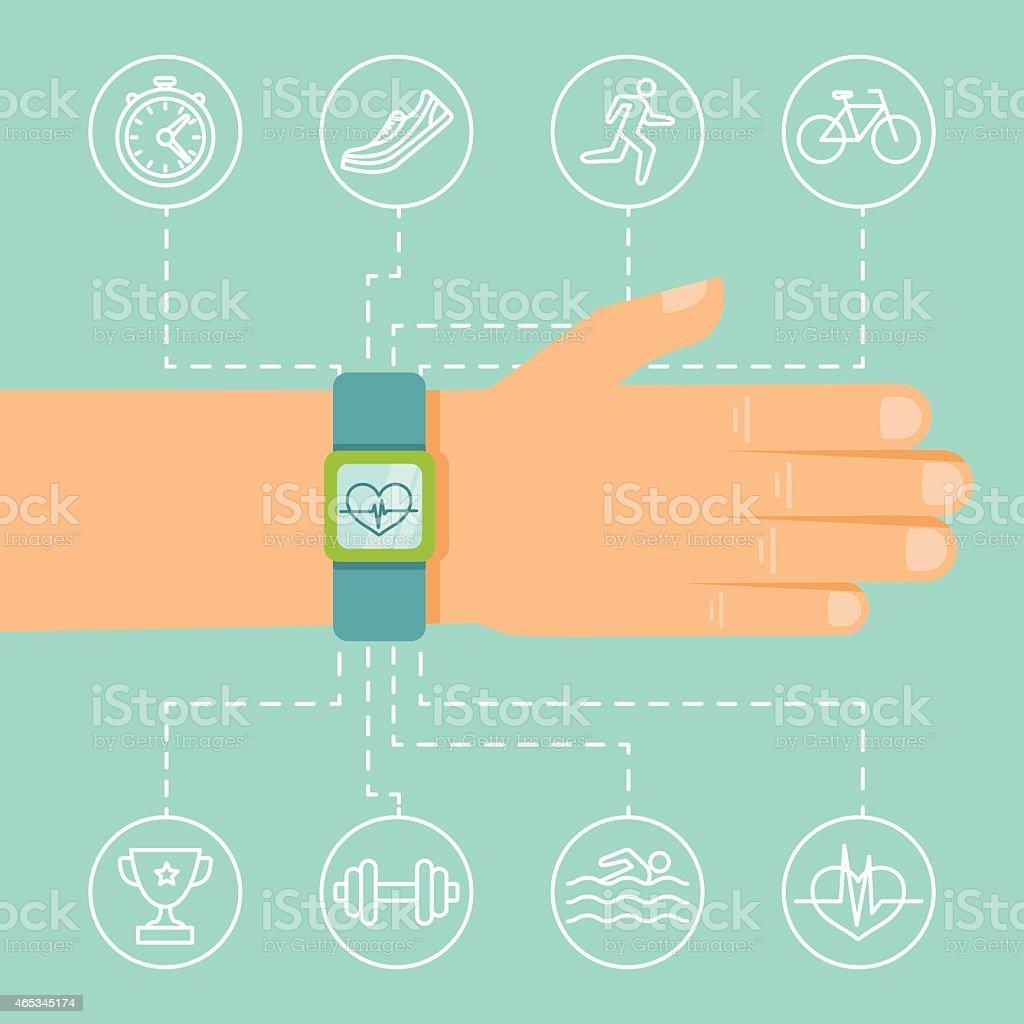 Vector fitness app and tracker on the wrist vector art illustration