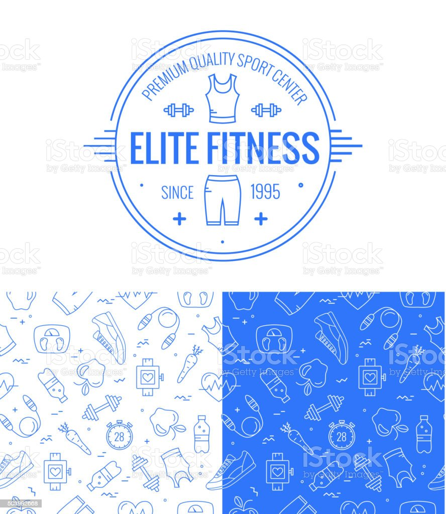 Vector fitness badge and seamless pattern set vector art illustration