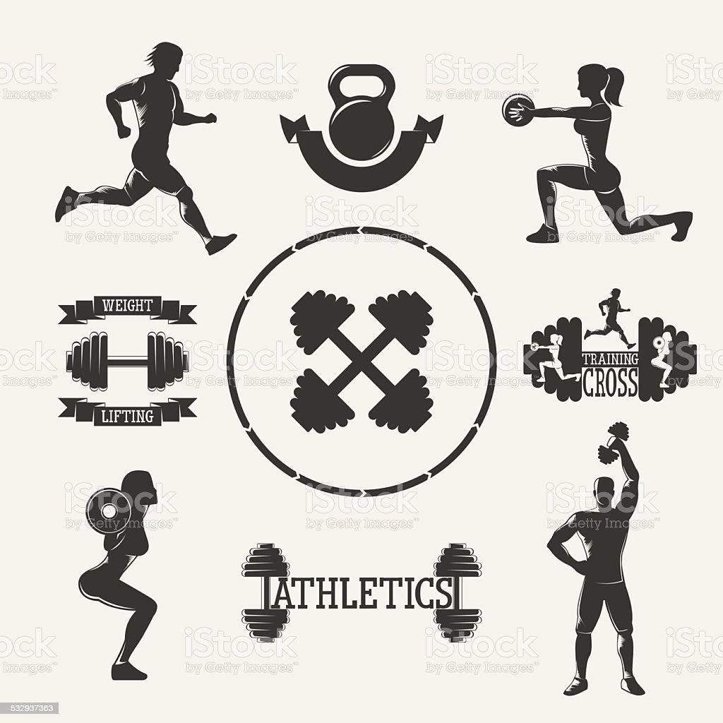 Vector fitness set vector art illustration