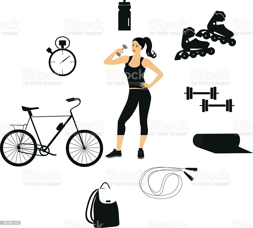 Vector fitness women set vector art illustration
