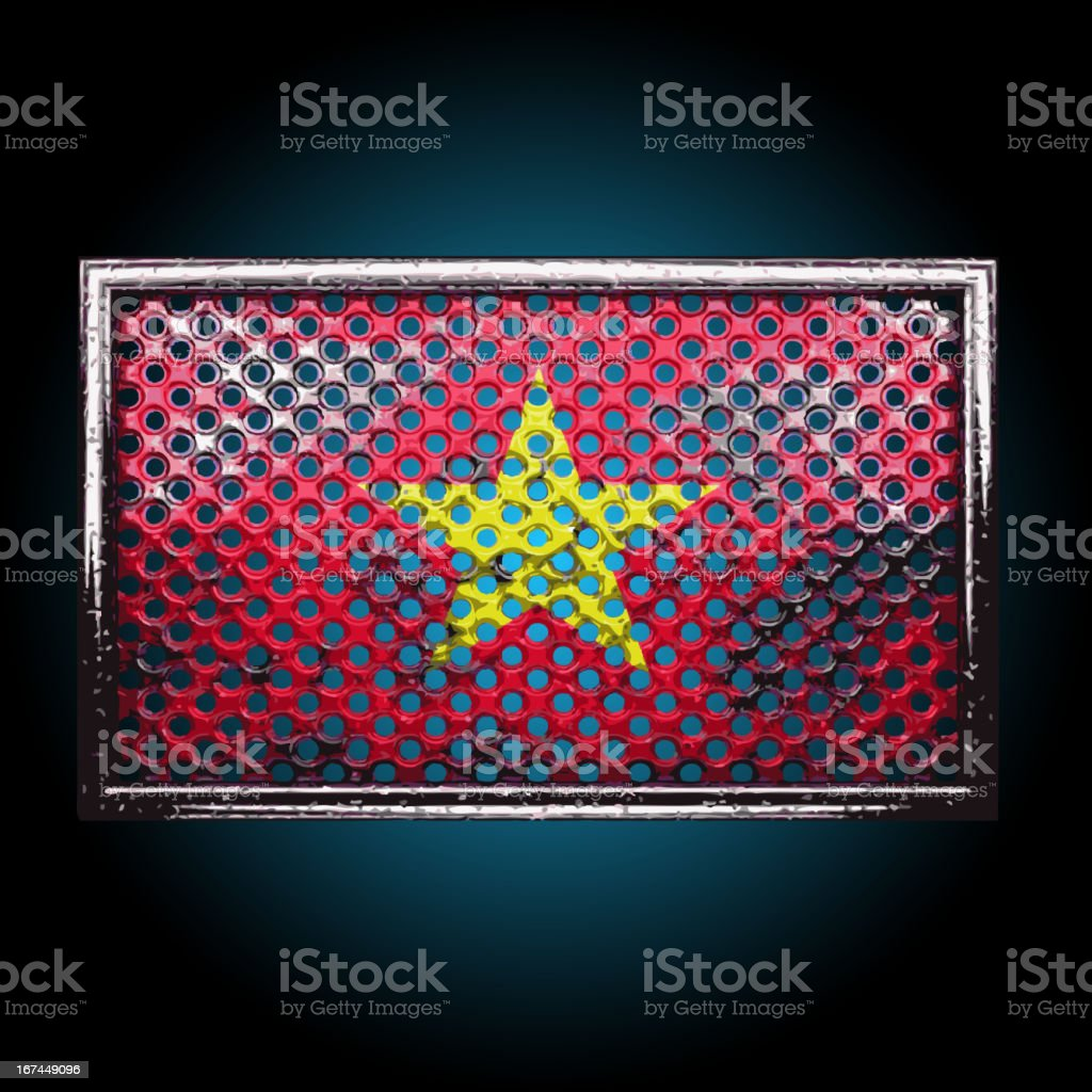 Vector flag on old metal royalty-free stock vector art