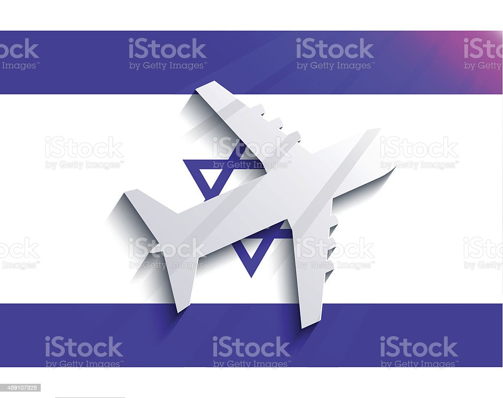 Vector flag with airplane. royalty-free stock vector art