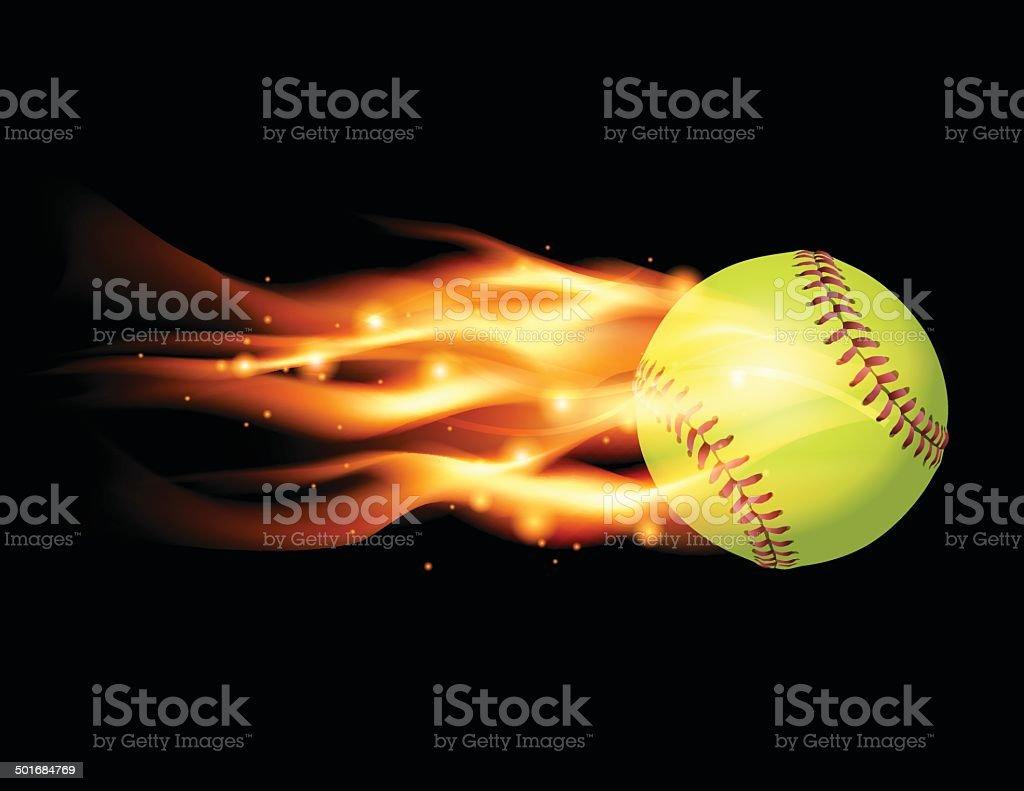 Vector Flaming Softball Illustration vector art illustration