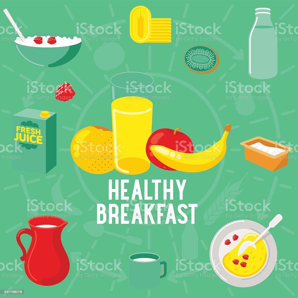 Vector flat banner breakfast. HEALTLY vector art illustration