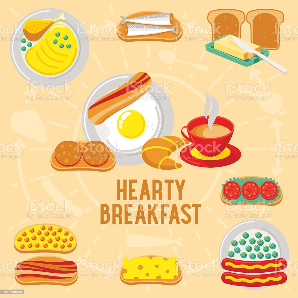 Vector flat banner breakfast. HEARTY vector art illustration