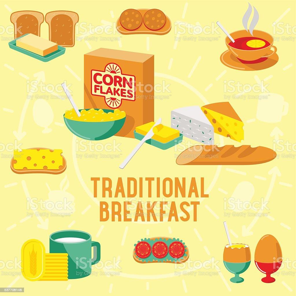 Vector flat banner breakfast. TRADITIONAL vector art illustration