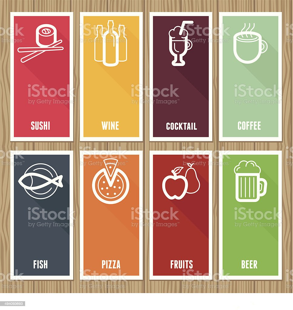 Vector flat banners with cafe icons royalty-free stock vector art