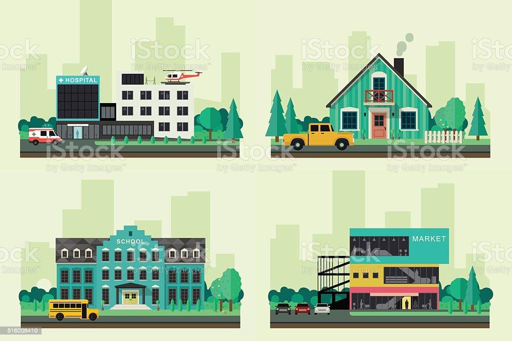 Vector flat buildings. vector art illustration