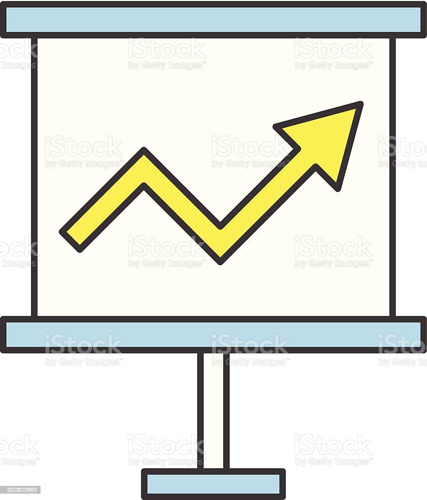 Vector Flat Business Growing Chart Presentation Board Icon royalty-free stock vector art