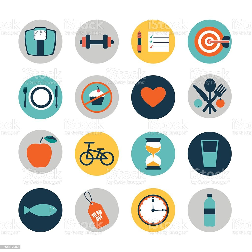 vector flat circle icons design elements of diet and fitness vector art illustration