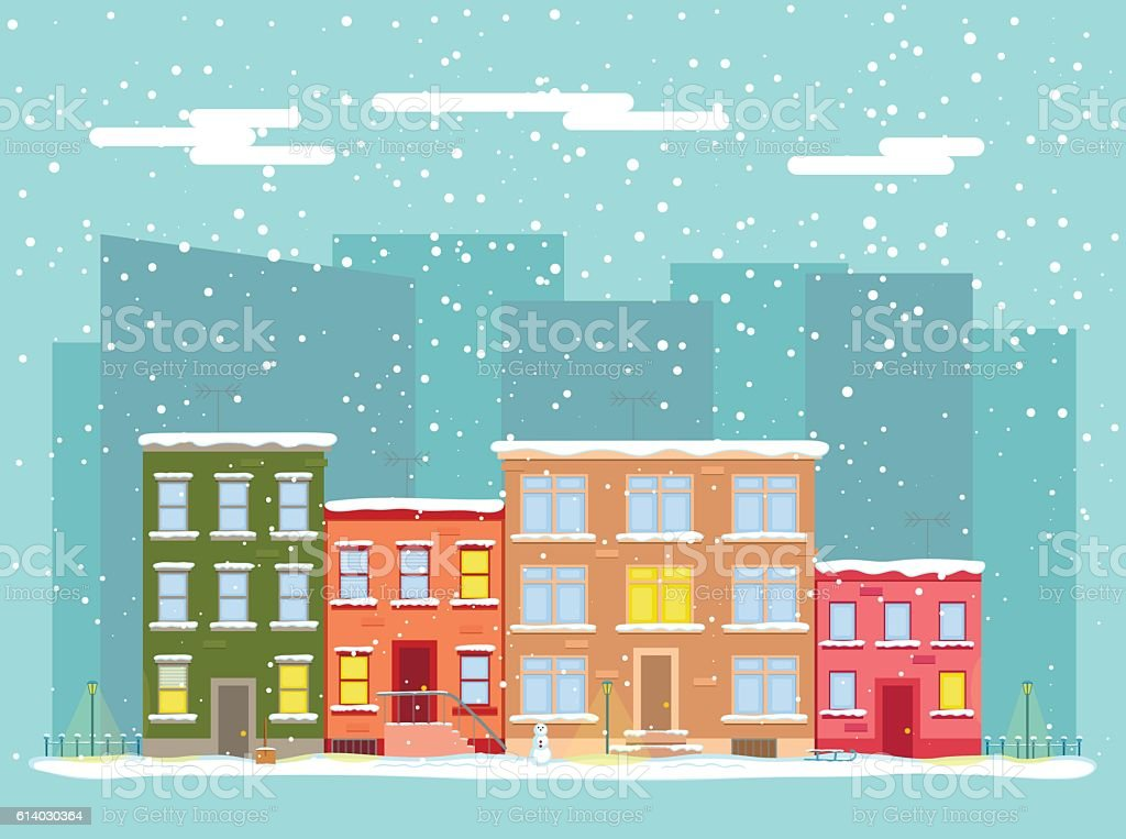 Vector flat city in winter vector art illustration