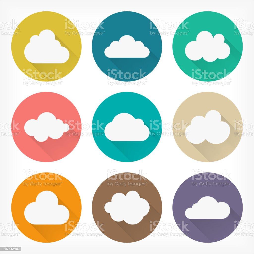 Vector flat clouds icons set. Material design. vector art illustration