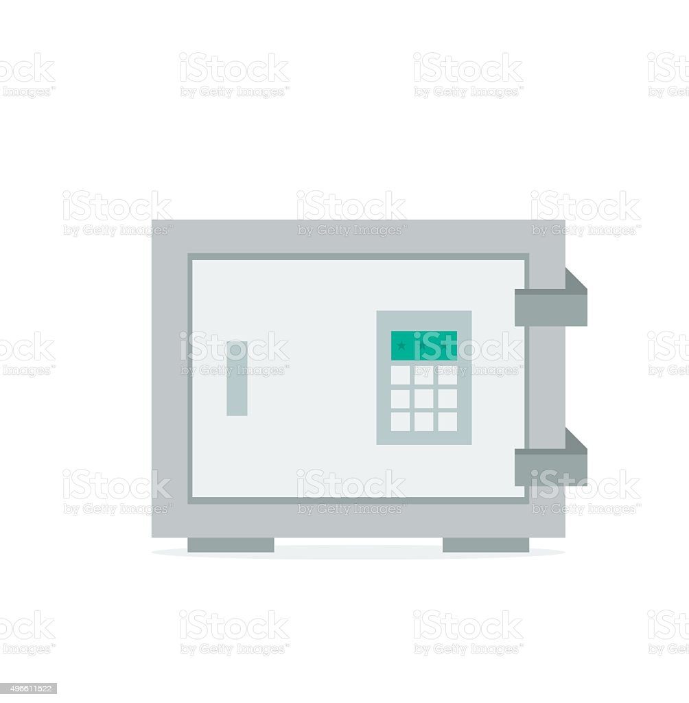 Vector flat concept safe icon with shadow vector art illustration