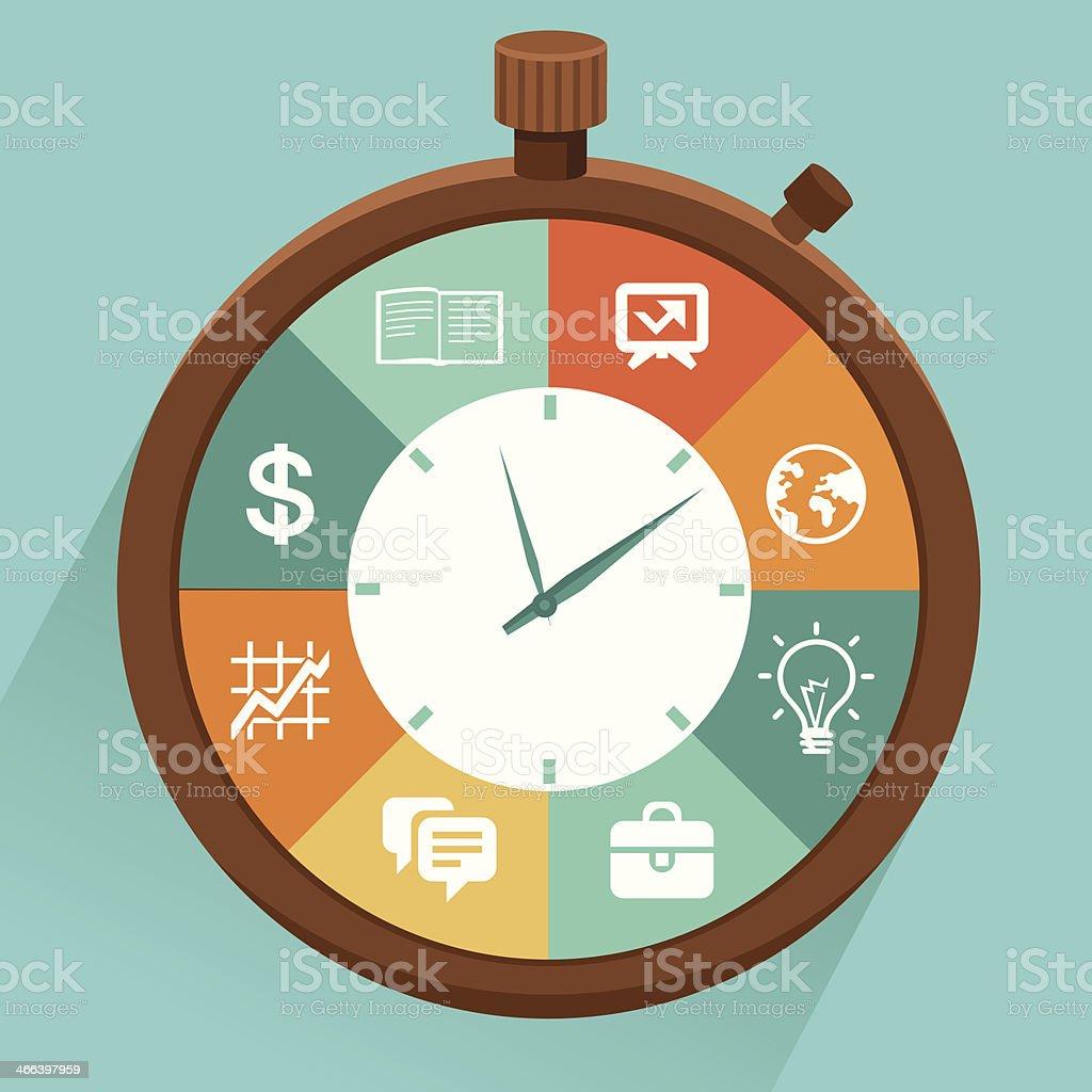 Vector flat concept - time management vector art illustration