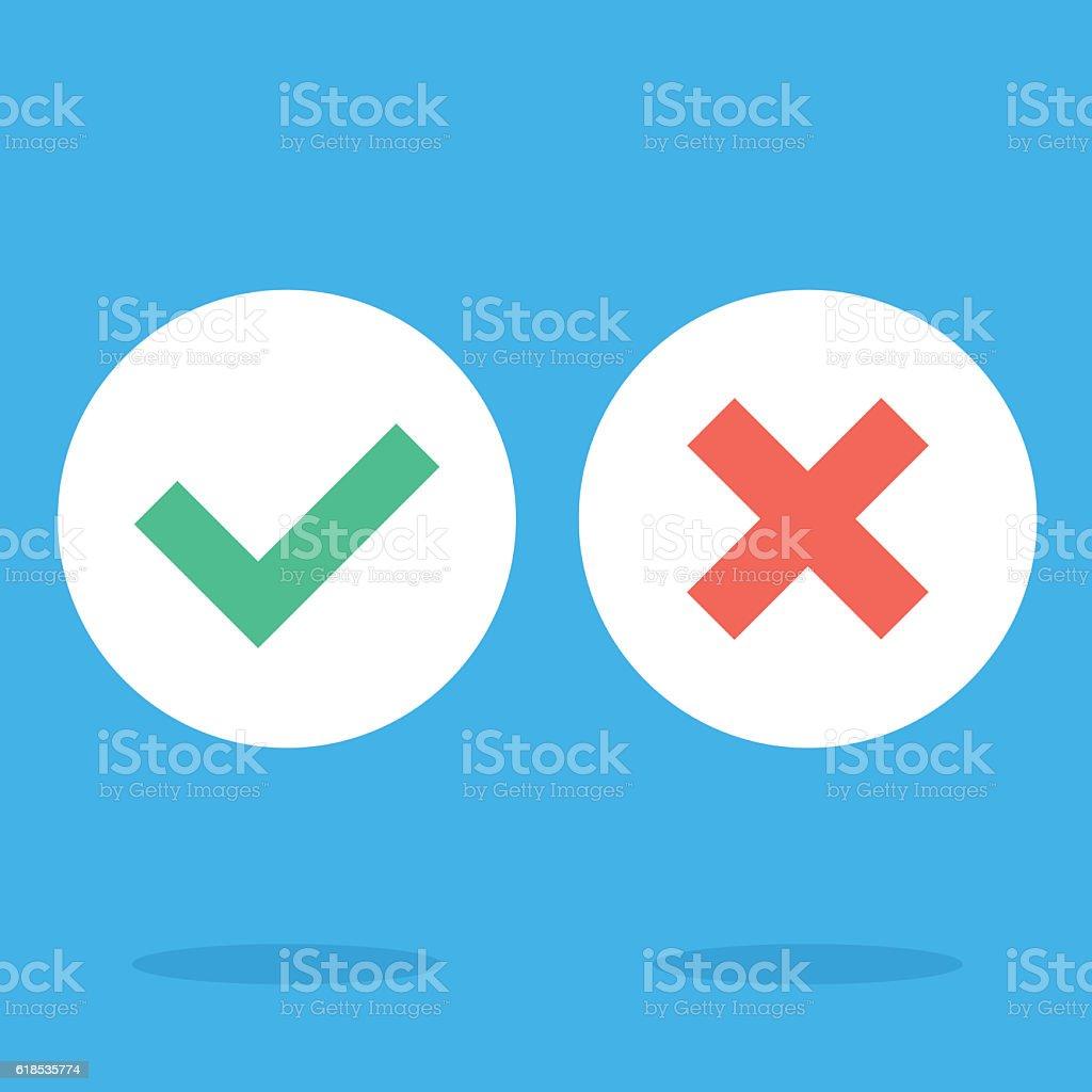 Vector flat design checkmarks icons set. Green tick, red cross vector art illustration