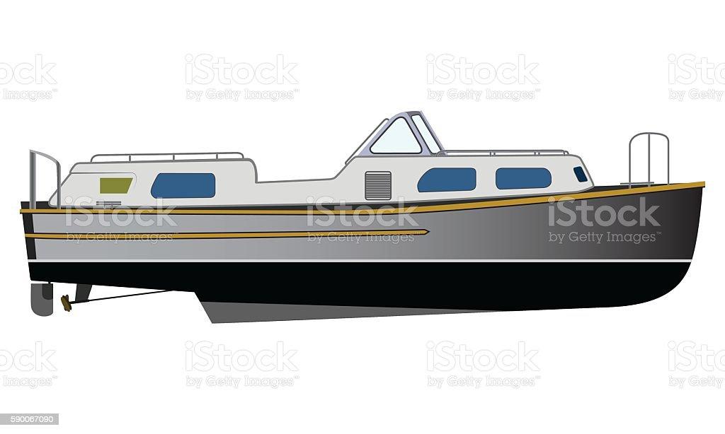 Vector flat design narrowboat vector art illustration