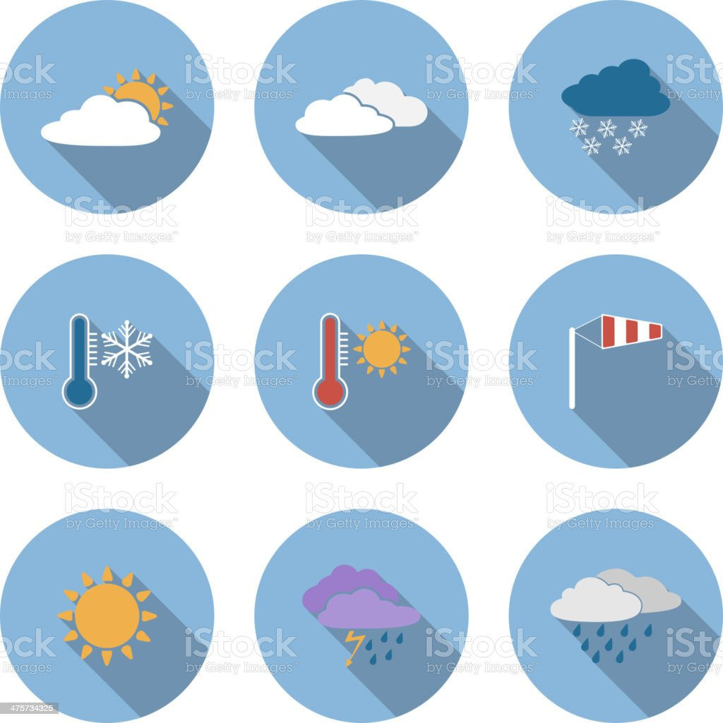 Vector flat design style weather icons set royalty-free stock vector art