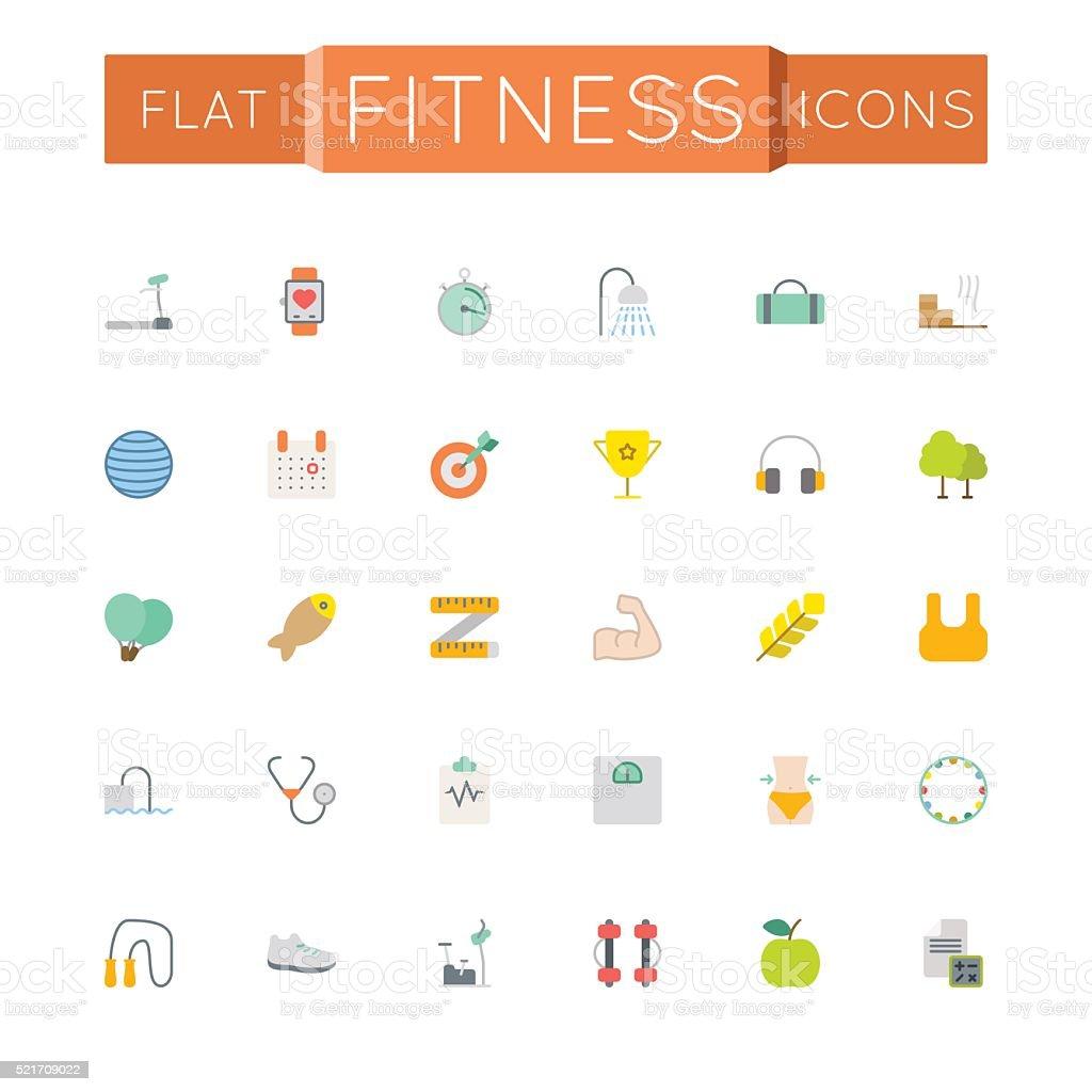 Vector Flat Fitness Icons vector art illustration