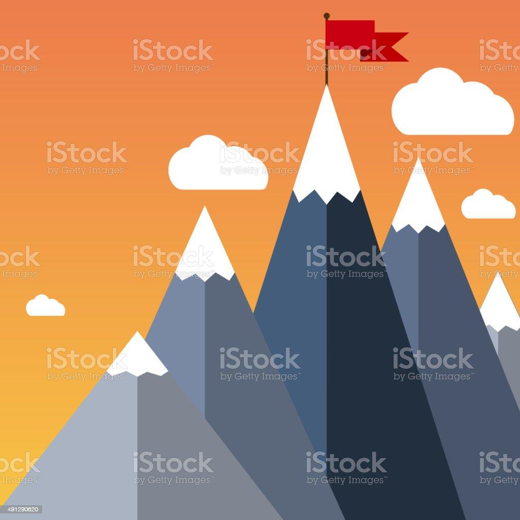 Vector flat flag on mountain. Success illustration. vector art illustration