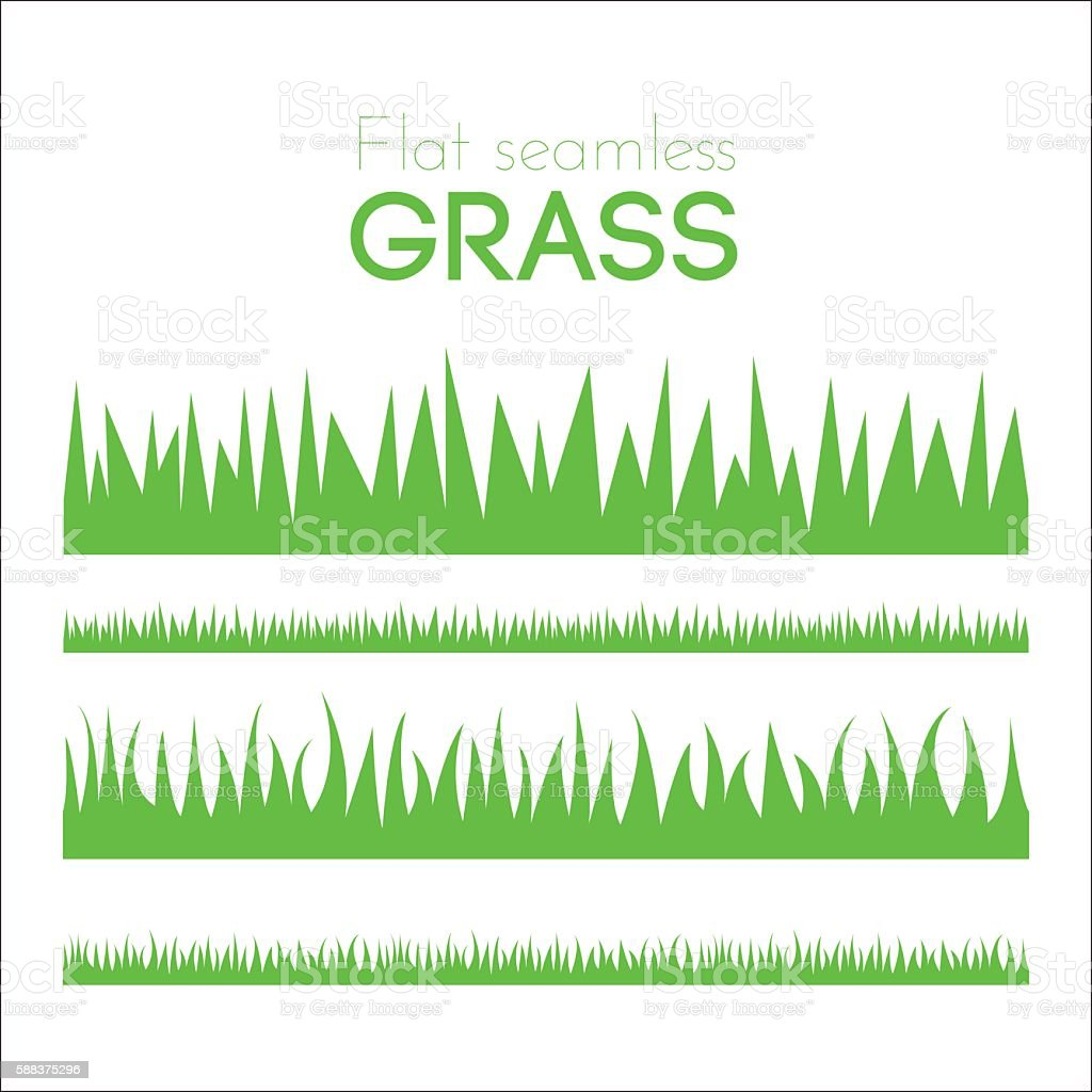 Vector flat grass set isolated on white background vector art illustration