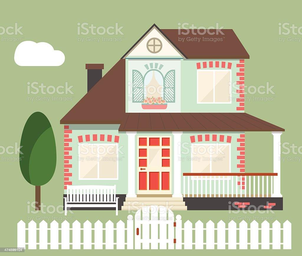 vector flat house vector art illustration